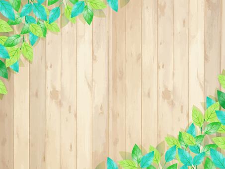 Fresh green / watercolor style frame / leaf, wood grain board, signboard