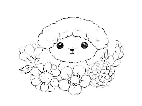 꽃과 토이 푸들 (흑백)