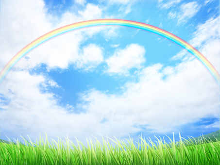 Lawn and blue sky Rainbow background · Wallpaper frame