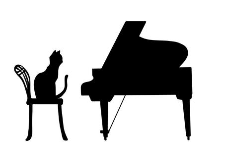 Piano and cat (silhouette)