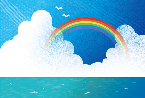Blue sky and rainbow sea background illustration 03