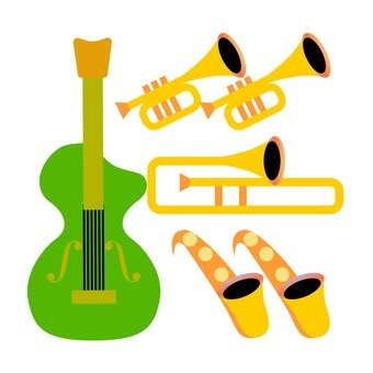 Guitar and brass instrument