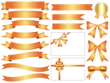 Ribbon's icon set orange gold
