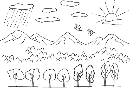Outdoor line drawing set such as mountains, sun, clouds