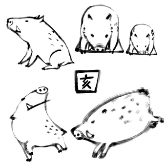 Assorted wild boar (monochrome)
