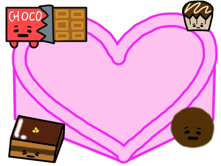 Chocolate and heart frame