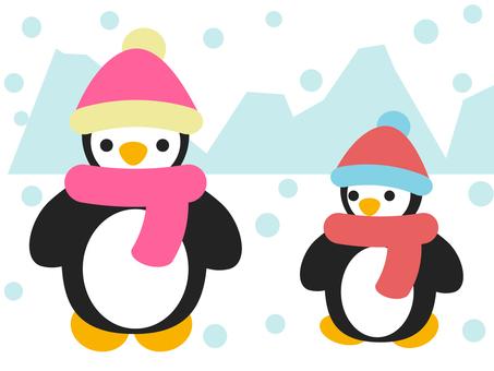 Penguin parent and child winter outfit