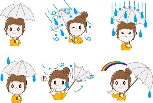 Umbrella, woman (bun head), upper body