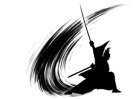 Samurai action silhouette