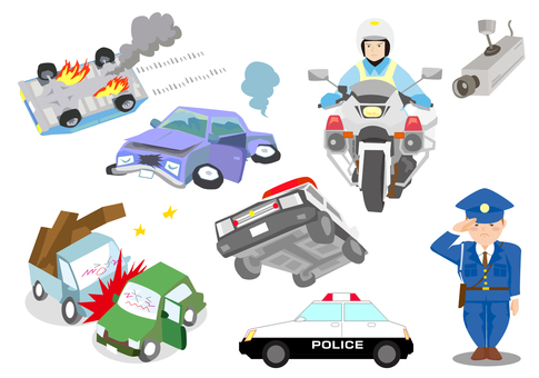 Traffic accident and police set