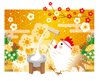 New Year cards 2017 Illustrations Rooster Year Gold with Mochi