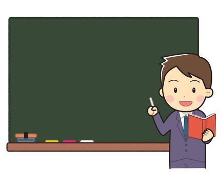 Blackboard with man in suit