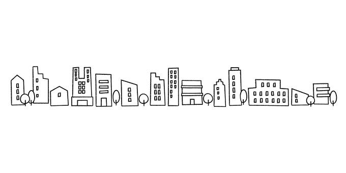 Cityscape_hand drawn_monochrome