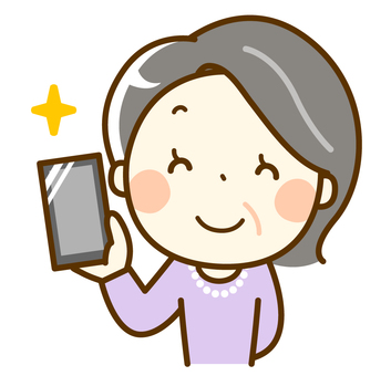 Senior woman holding a smartphone with a smile
