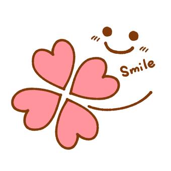 四片葉子和微笑標記(粉紅色)