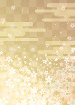 Sakura_Gold leaf_Lattice background_Vertical 2447