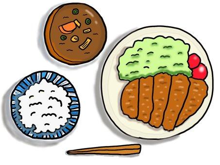 Tonkatsu set menu Pork juice white rice