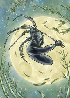 満月と竹と忍び
