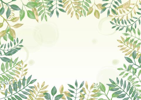 Watercolor leaf frame 01