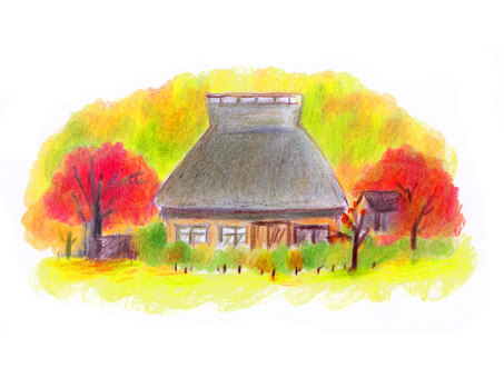 Autumn old private house (color pencil drawing)
