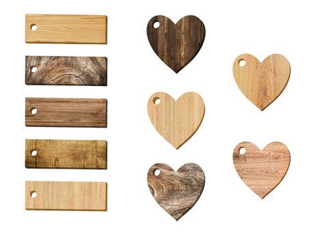 Wood grain heart tag set
