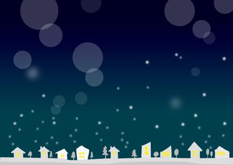 Snowy night skyline