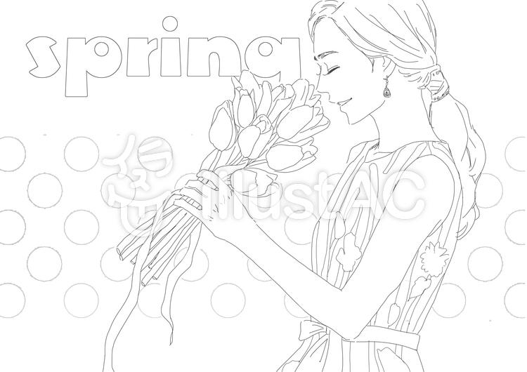 春 塗り絵イラスト No 1070561無料イラストならイラストac