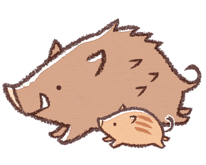 Running wild Boar and child
