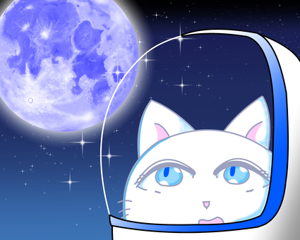 Astronaut cat looking up at the moon
