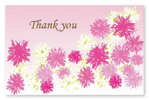 Pink floral print thank you thank you thank card