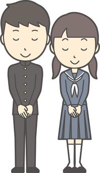 Junior high school student gender set-038-whole body