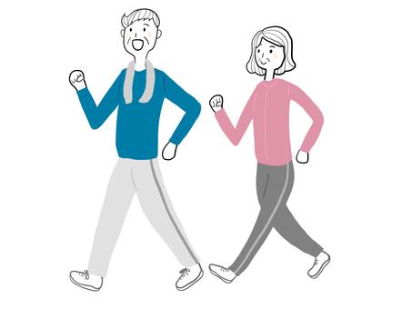 老年夫婦散步