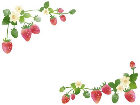 苺のフレーム(水彩風)001