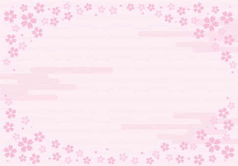 Spring cherry petal frame ☆ Japanese pattern background ☆