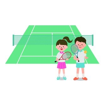Boys and girls on tennis court