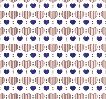 북유럽 풍 패턴 하트 01 / 파랑