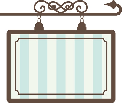 Hanging signboard striped blue series