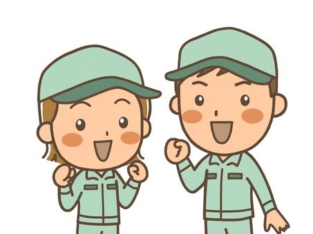 젊은 남녀의 작업 원 (모자)