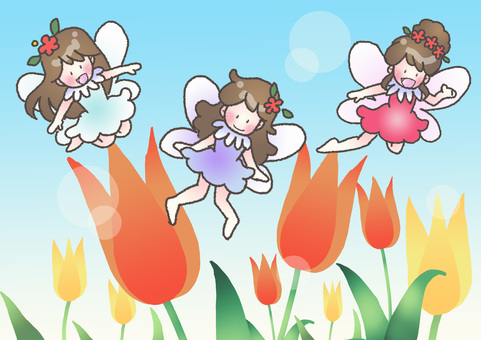 Fairies and tulips