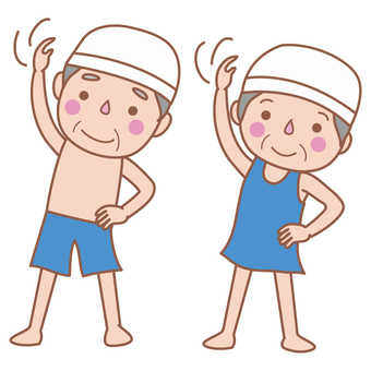 Preparation for swimming Gymnastics (old man)
