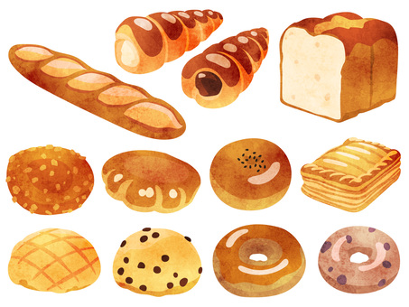 Cooking _ bread set 1_ watercolor