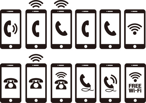 Phone, mobile phone, smartphone ☆ icon set