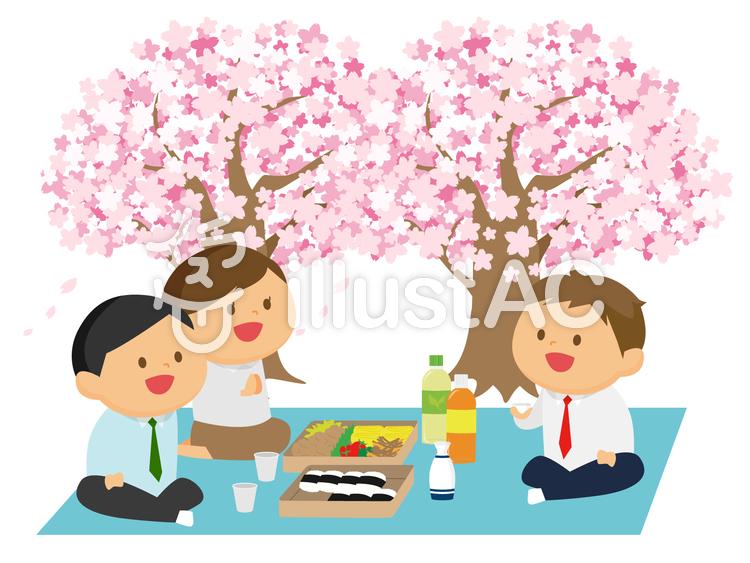 お花見をする社員のイラスト
