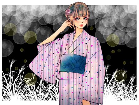 Yukata beautiful girl [hot fire background]