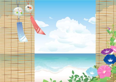 風鈴と簾とあさがおと海