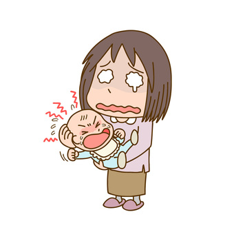 Baby crying and pale mother