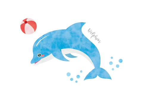 Dolphin watercolor animal illustration material 007