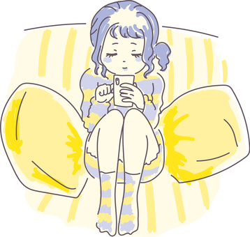 A girl looking at a smartphone