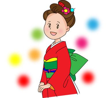 Red kimono figure
