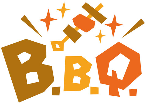 Barbecue ☆ B.B.Q. ☆ English logo